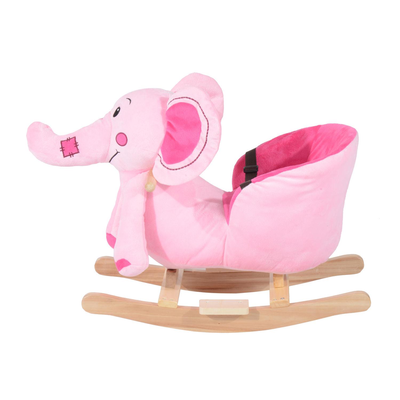 miniature 17 - Enfants en Bois Cheval à Bascule Rocker éléphant Ride Sur Jouet Cadeau Siège chansons