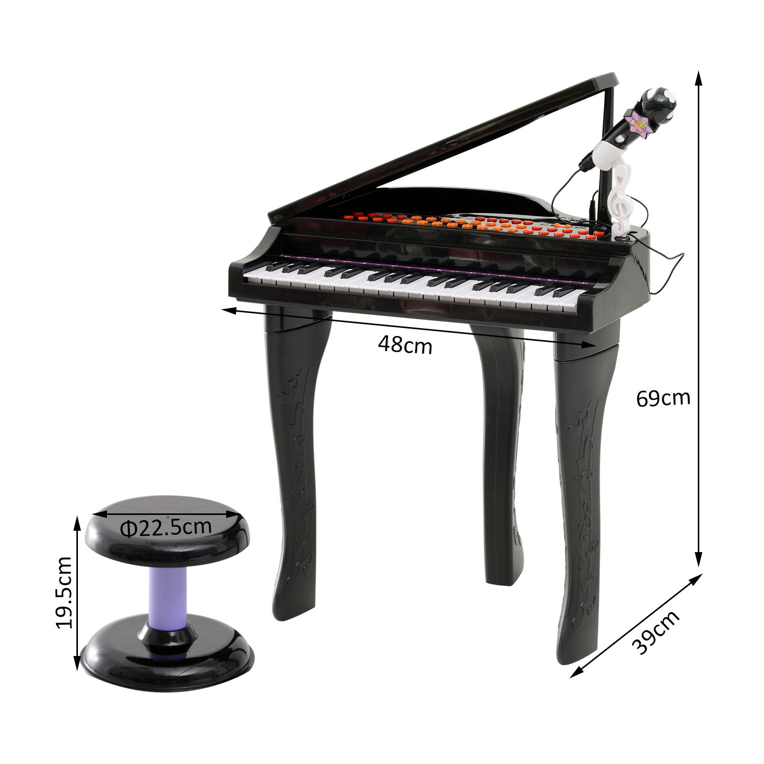 37-32-Key-Kids-Electronic-Keyboard-Mini-Grand-Piano-Stool-Microphone-Musical-Toy thumbnail 3