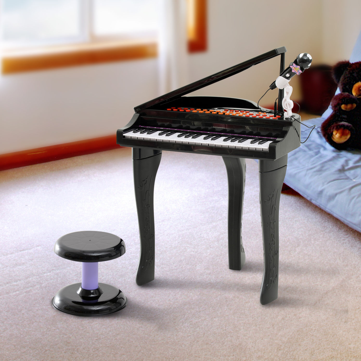 37-32-Key-Kids-Electronic-Keyboard-Mini-Grand-Piano-Stool-Microphone-Musical-Toy thumbnail 6