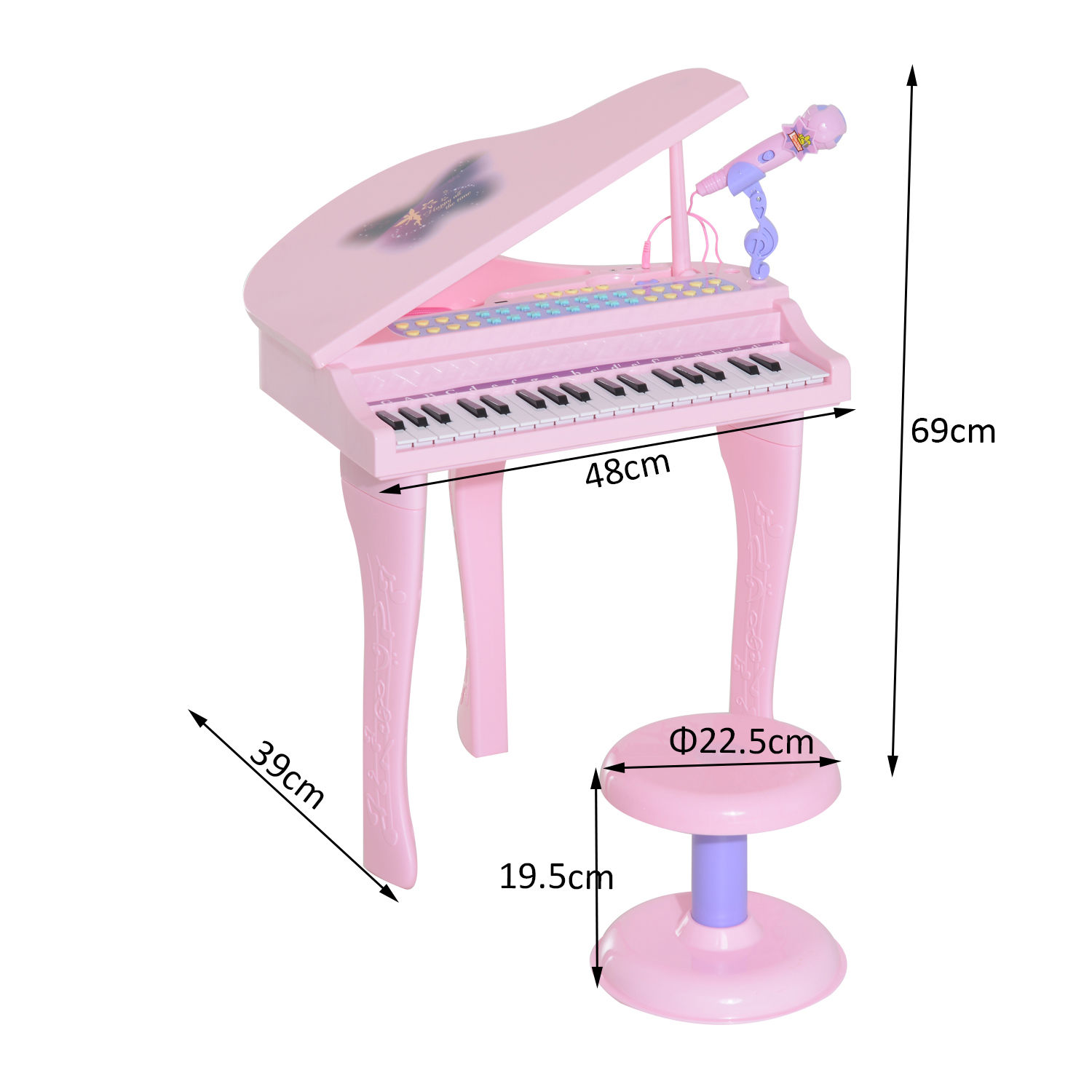 37-32-Key-Kids-Electronic-Keyboard-Mini-Grand-Piano-Stool-Microphone-Musical-Toy thumbnail 14