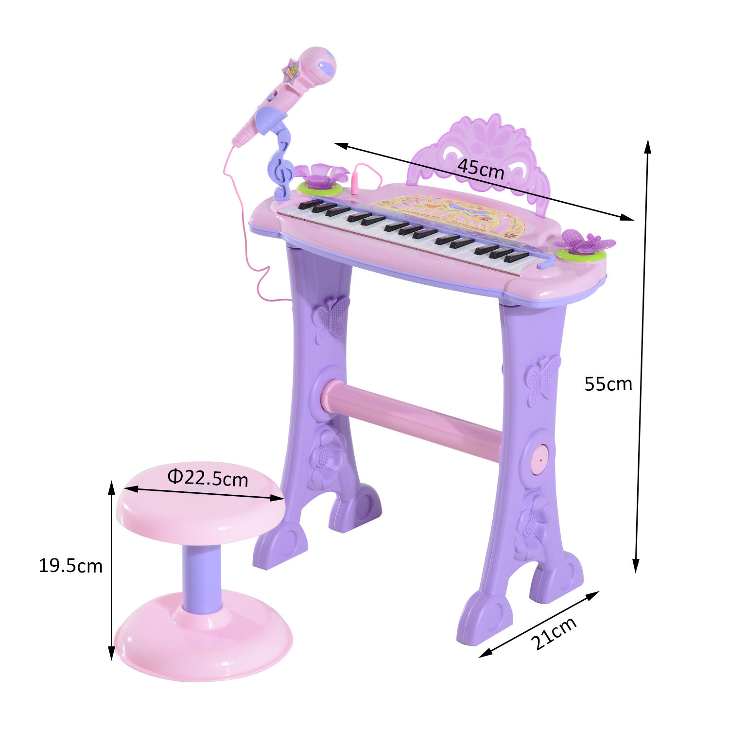 37-32-Key-Kids-Electronic-Keyboard-Mini-Grand-Piano-Stool-Microphone-Musical-Toy thumbnail 37
