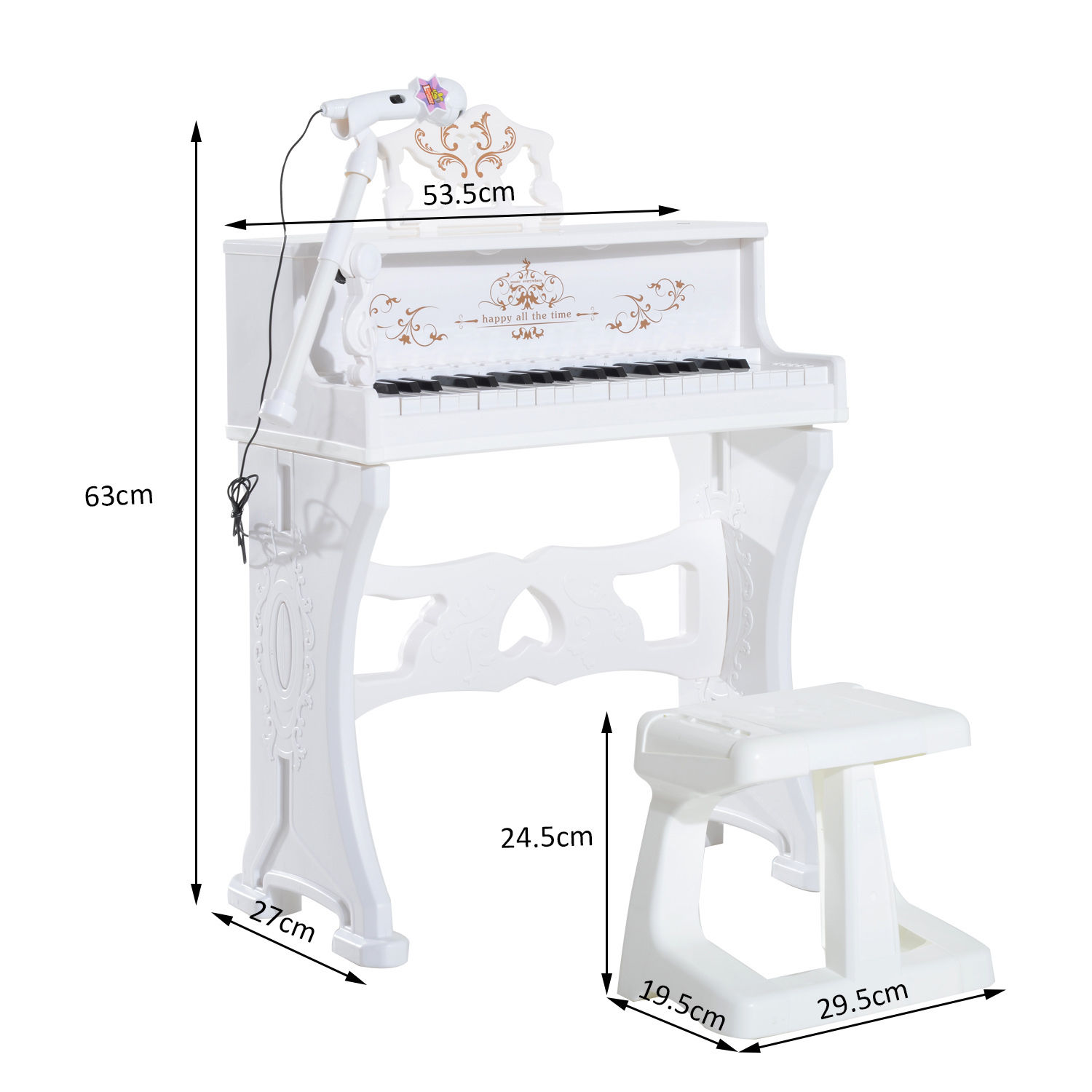 37-32-Key-Kids-Electronic-Keyboard-Mini-Grand-Piano-Stool-Microphone-Musical-Toy thumbnail 49