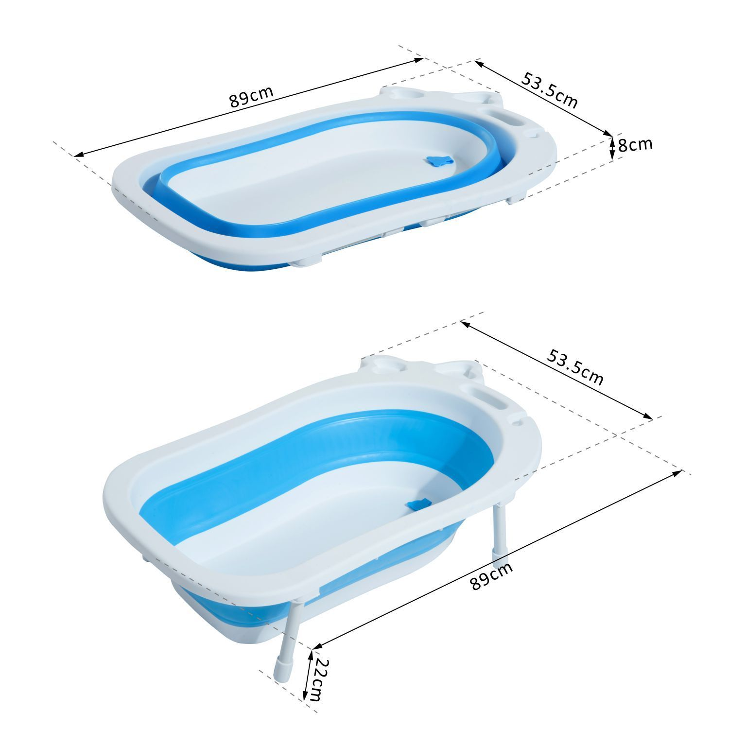 Baby Bath Tub Foldable Toddler Kids Infant Plastic Play Wash Basket ...