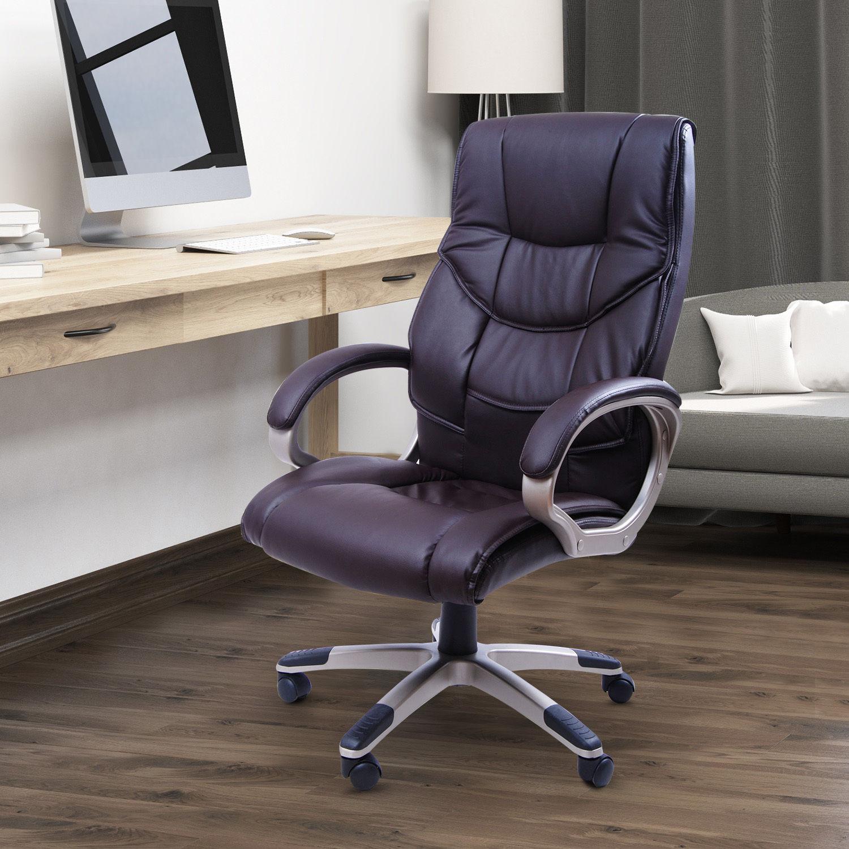 homcom computer office desk chair luxury pu leather swivel ergonomic