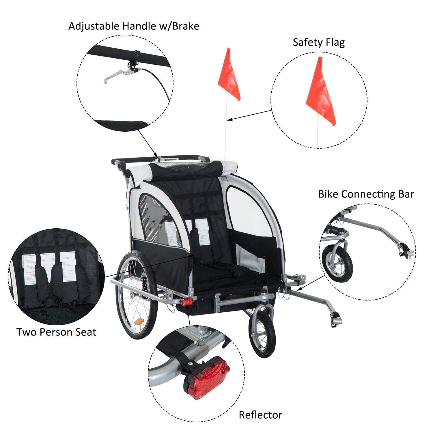 2-Seater-Child-Bike-Trailer-Kids-Carrier-Safety-Harness-Baby-Stroller-Jogger thumbnail 16