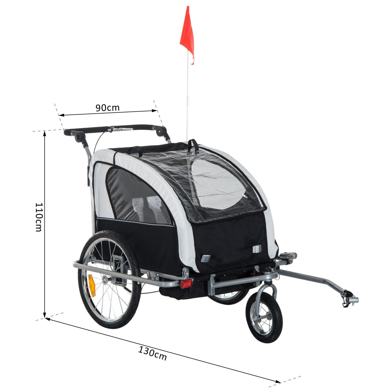 2-Seater-Child-Bike-Trailer-Kids-Carrier-Safety-Harness-Baby-Stroller-Jogger thumbnail 15