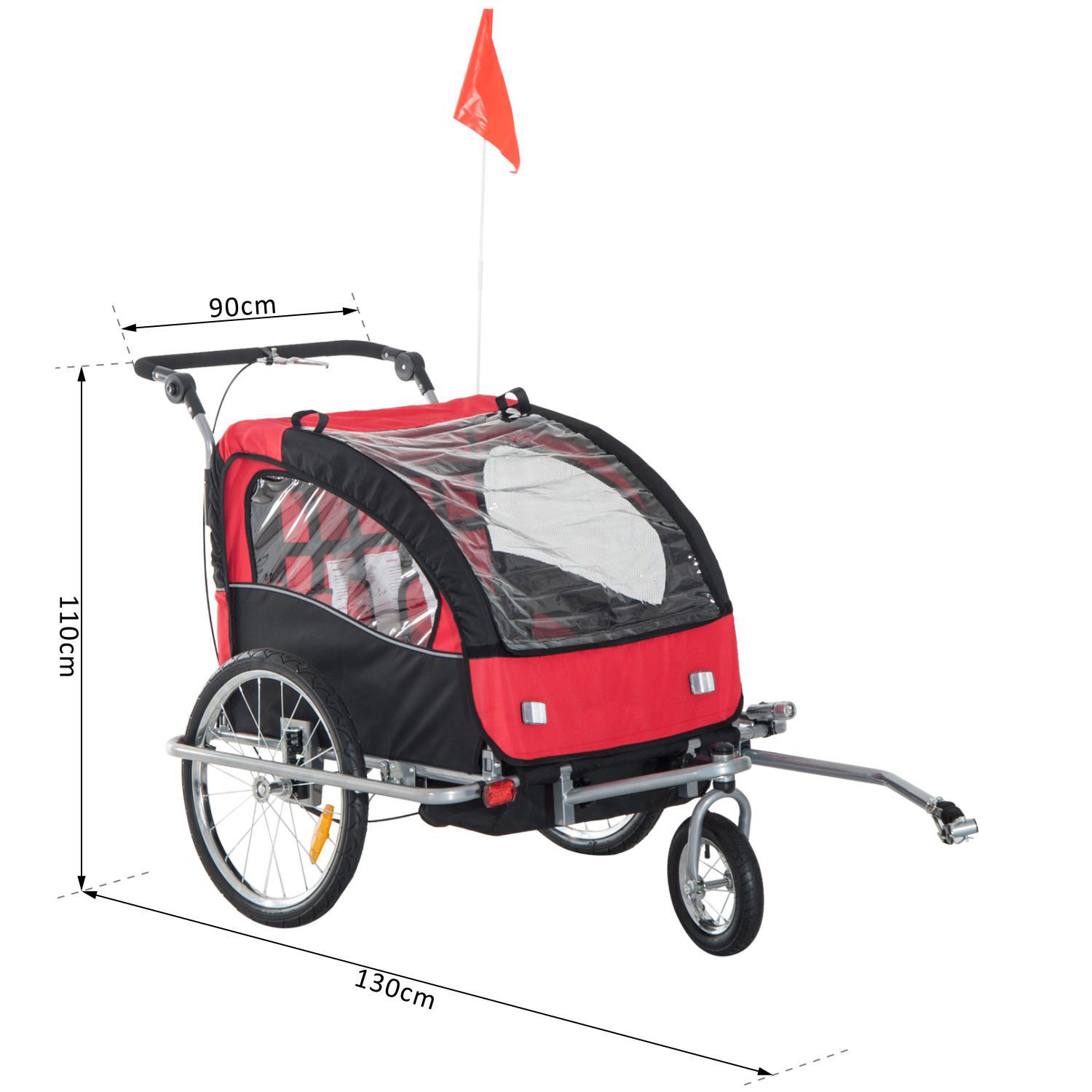 2-Seater-Child-Bike-Trailer-Kids-Carrier-Safety-Harness-Baby-Stroller-Jogger thumbnail 3