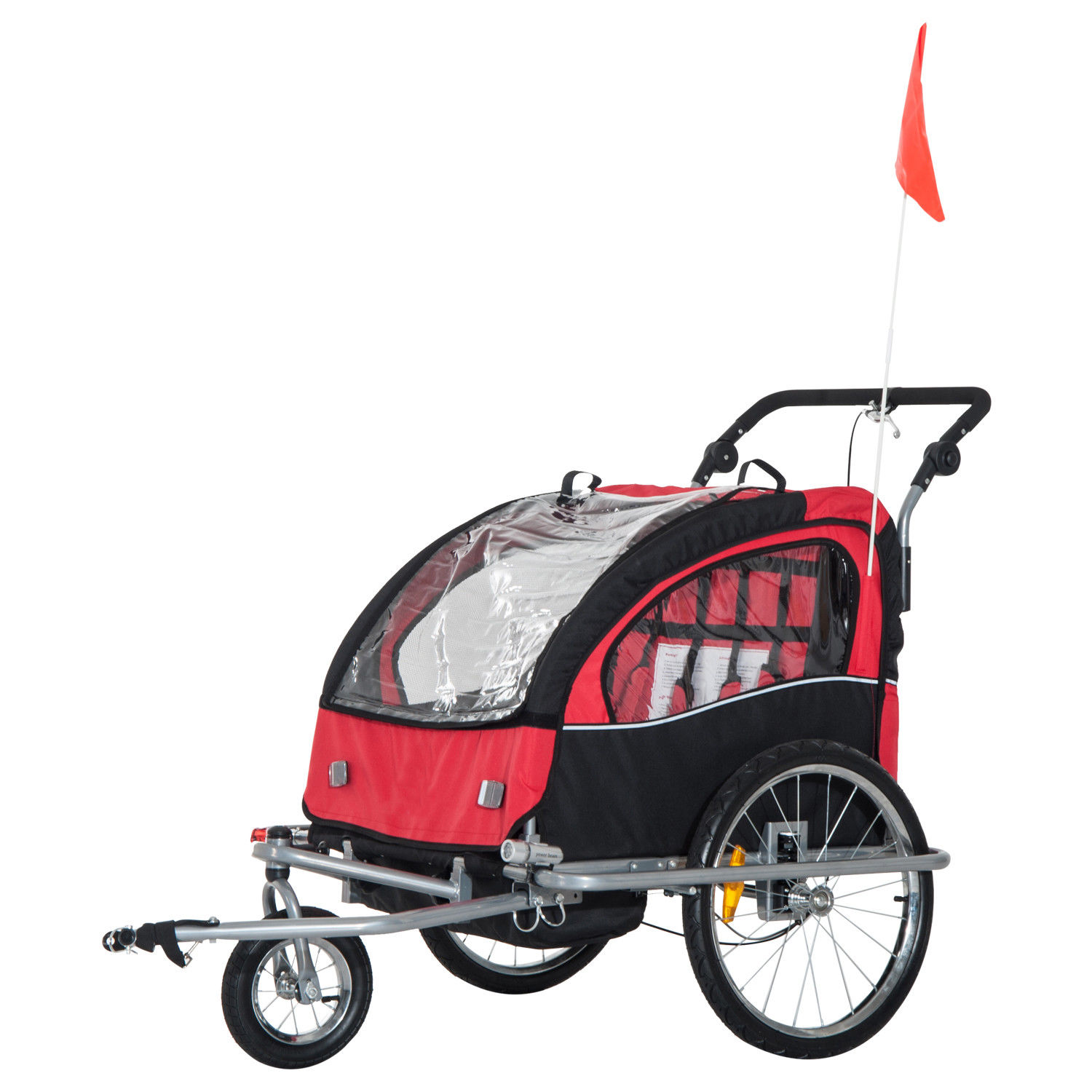 2-Seater-Child-Bike-Trailer-Kids-Carrier-Safety-Harness-Baby-Stroller-Jogger thumbnail 7