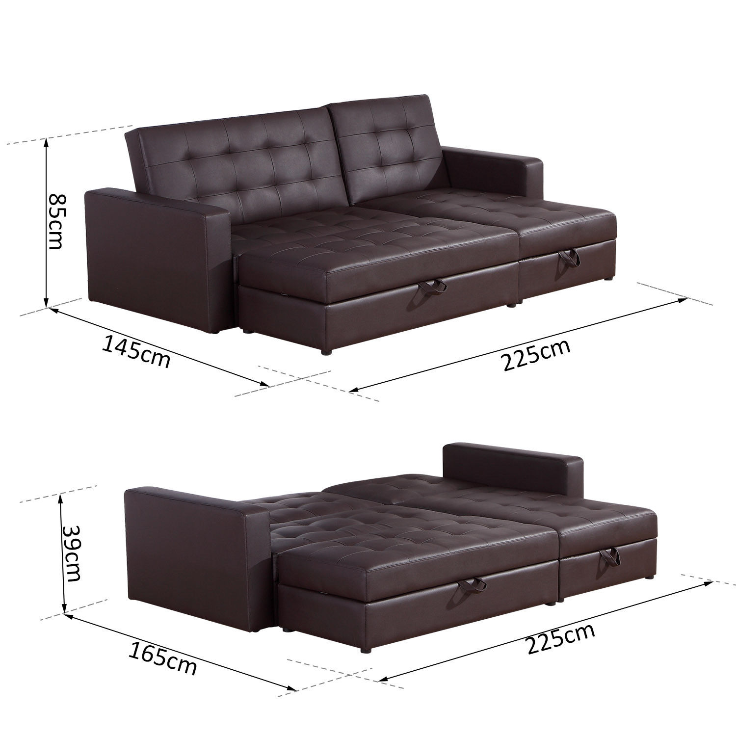 Sofa Bed With Chaise: Sofa Bed Storage Sleeper Chaise Loveseat Couch Sectional
