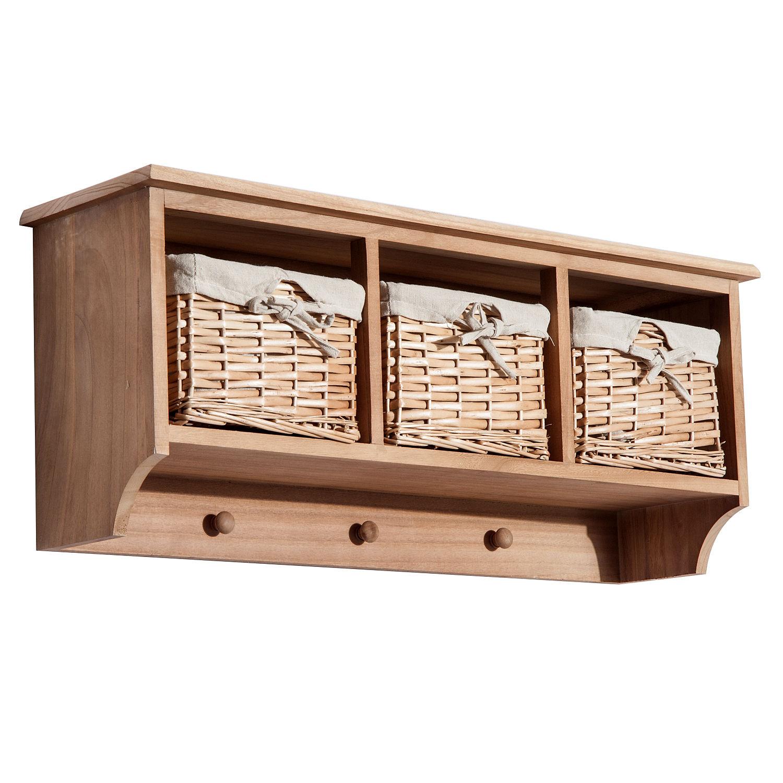 Wall Mounted Coat Hook Storage Unit 2 / 3 Baskets