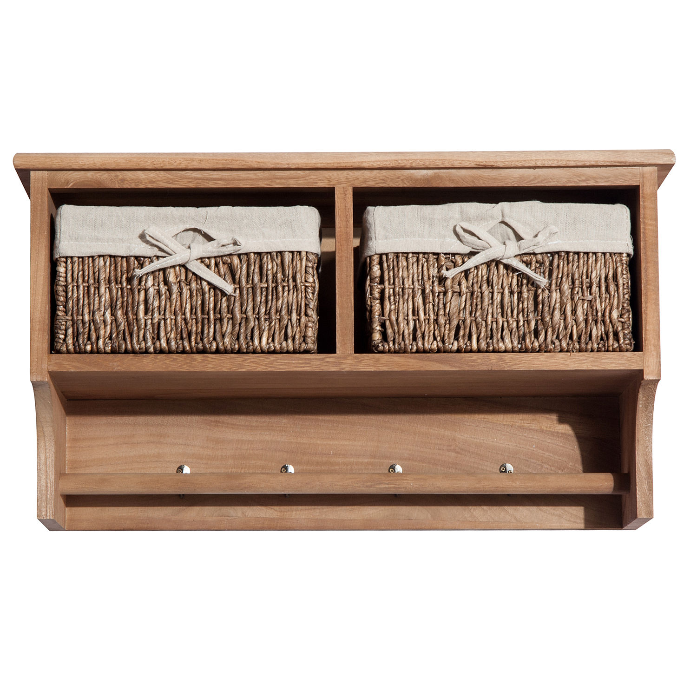 wall mounted coat hook storage unit 2 3 baskets organiser shelf holder hallway ebay. Black Bedroom Furniture Sets. Home Design Ideas