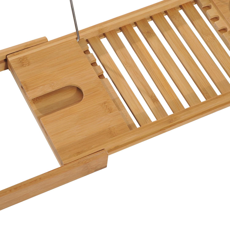 Bath Rack Bathroom Tray Bamboo Wooden Bathtub Shelf Wine Holder | eBay