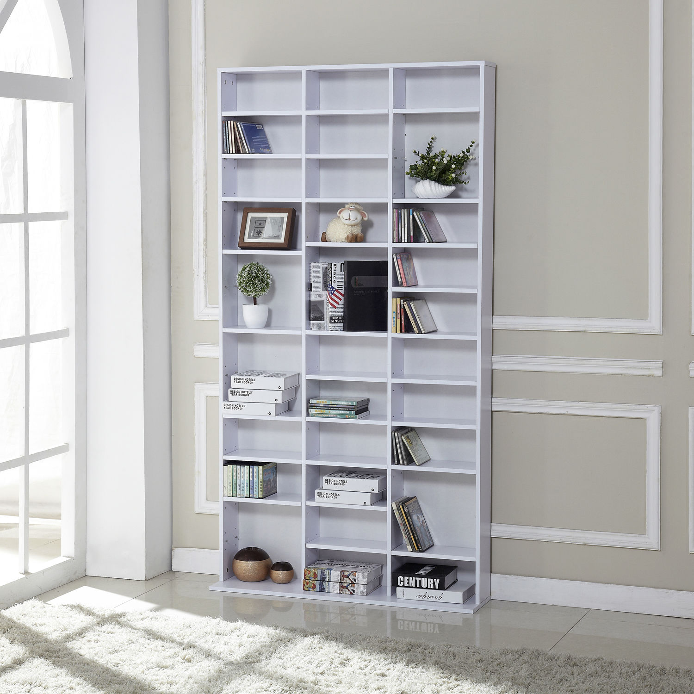 CD-DVD-Media-Storage-Wooden-Shelves-Bookcase-Display-Shelving-Unit-Adjustable