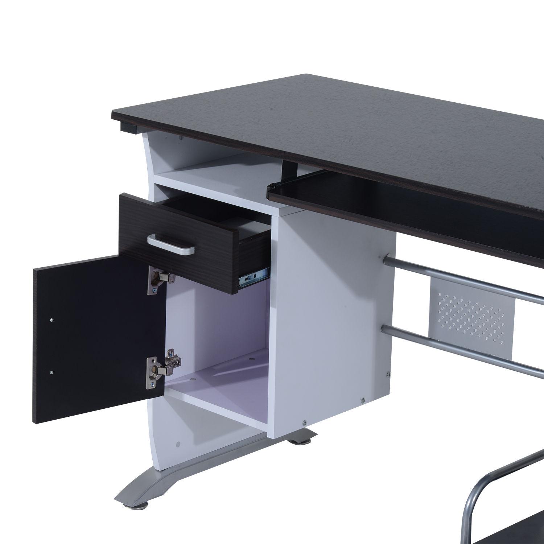 Computer-Desk-Workstation-Table-Sliding-Keyboard-Shelf-Wood-Drawer-Office-Home thumbnail 20