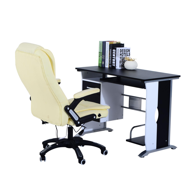 Computer-Desk-Workstation-Table-Sliding-Keyboard-Shelf-Wood-Drawer-Office-Home thumbnail 6