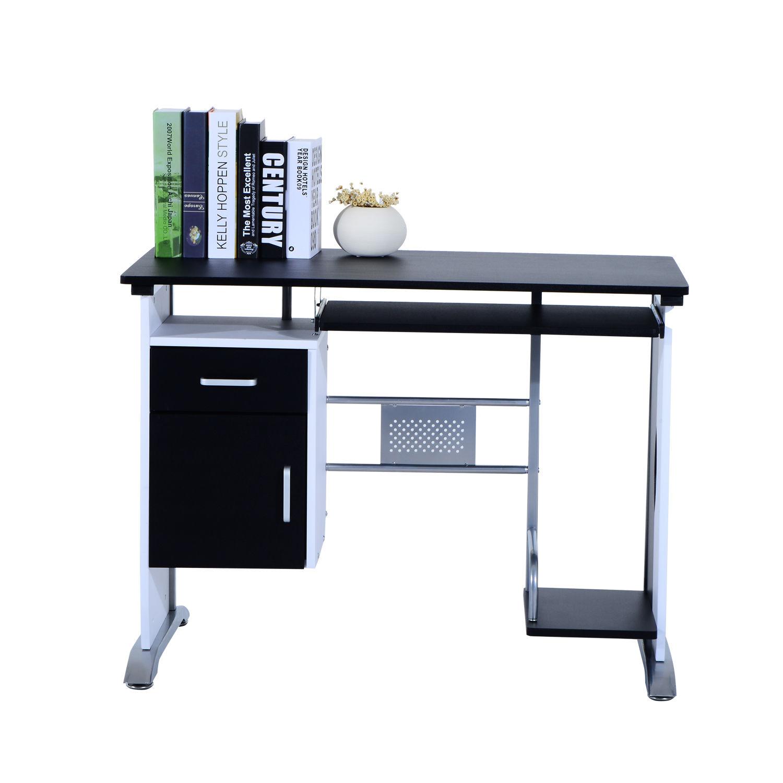Computer-Desk-Workstation-Table-Sliding-Keyboard-Shelf-Wood-Drawer-Office-Home thumbnail 7