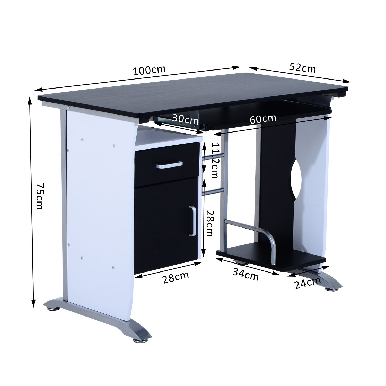 Computer-Desk-Workstation-Table-Sliding-Keyboard-Shelf-Wood-Drawer-Office-Home thumbnail 3