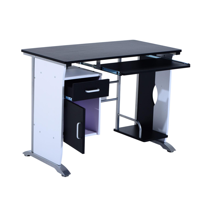 Computer-Desk-Workstation-Table-Sliding-Keyboard-Shelf-Wood-Drawer-Office-Home thumbnail 4