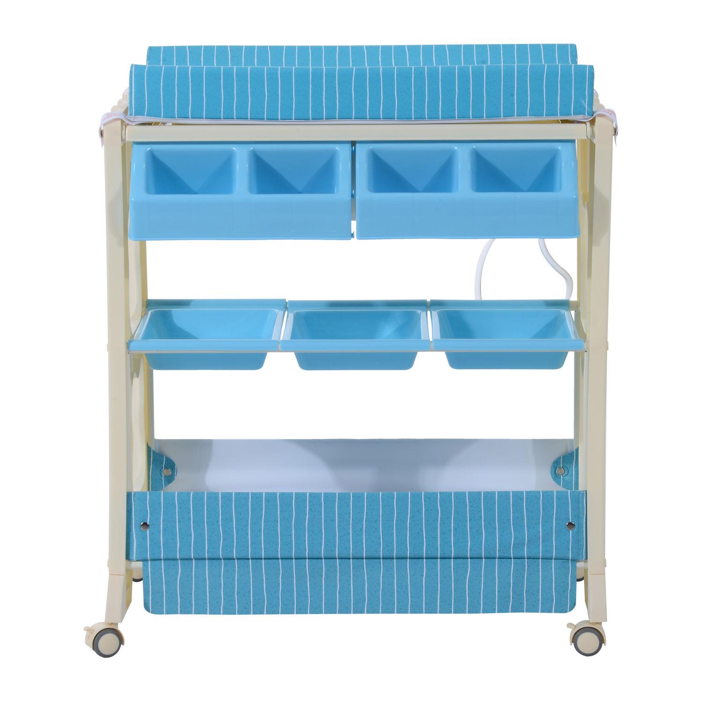 Wickelkommode-Baby-Wickeltisch-Badewanne-Wickelauflage-Wickelregal-Mobil-2-Farbe