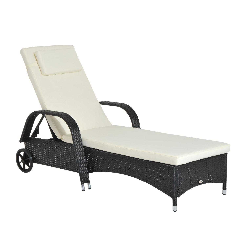 polyrattan gartenliege sonnenliege rattanliege gartenm bel mobil mit kissen ebay. Black Bedroom Furniture Sets. Home Design Ideas