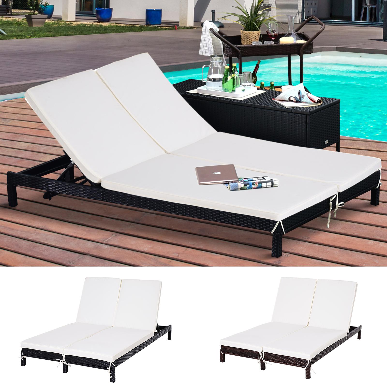 Gartenliege Doppelliege Relaxliege für 2 Personen 5-stufig Metall PE Rattan