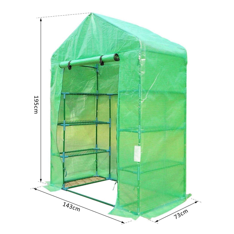 Tende Da Sole Tetto Spiovente dettagli su outsunny serra da giardino per piante con scaffali tetto  spiovente 143x73x195cm