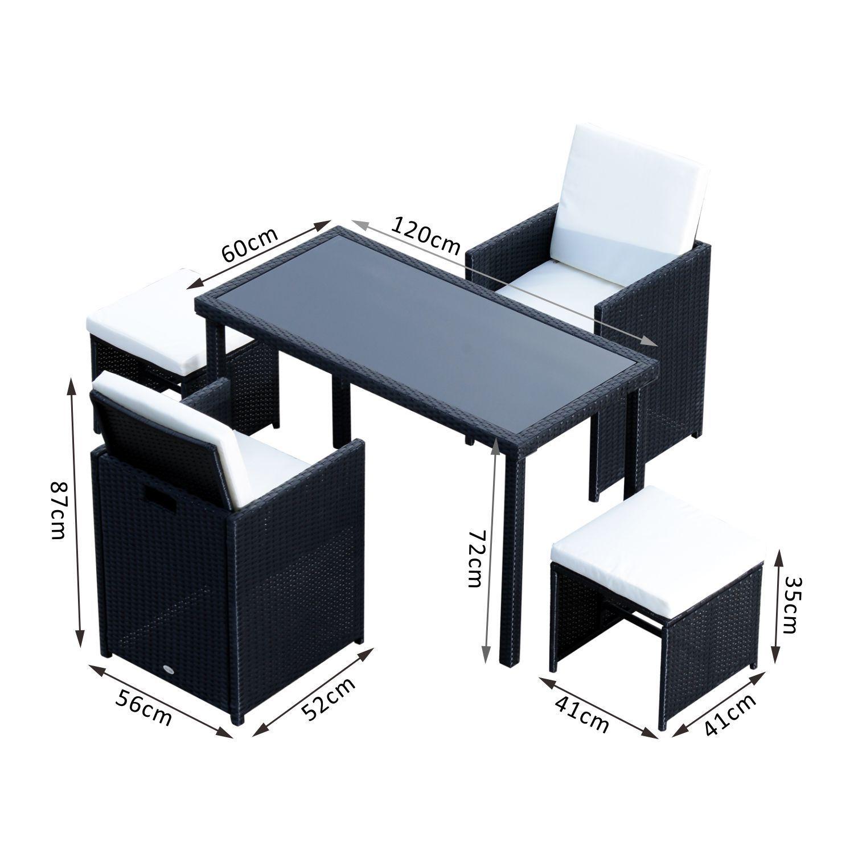Tavolo Sedie Giardino Rattan.Outsunny Set Rattan Garden Furniture 5 Piece Table 2 Chairs And 2