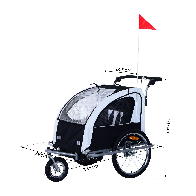 Remolque-Infantil-Bicicleta-2-PLAZAS-Kit-Footing-Rueda-360-Amortiguadores-Barra miniatura 29