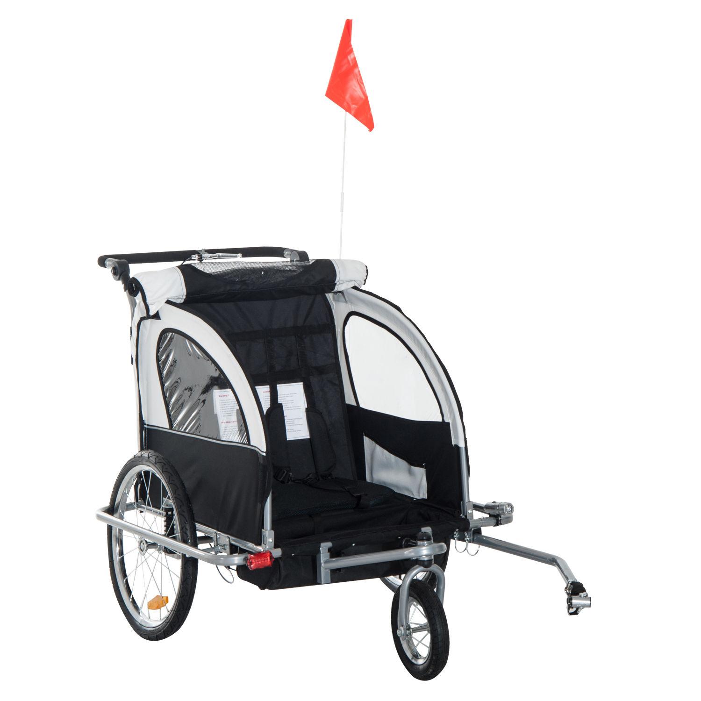 Remolque-Infantil-Bicicleta-2-PLAZAS-Kit-Footing-Rueda-360-Amortiguadores-Barra miniatura 31