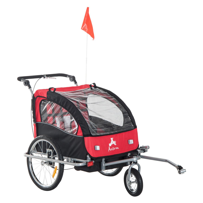 Remolque-Infantil-Bicicleta-2-PLAZAS-Kit-Footing-Rueda-360-Amortiguadores-Barra