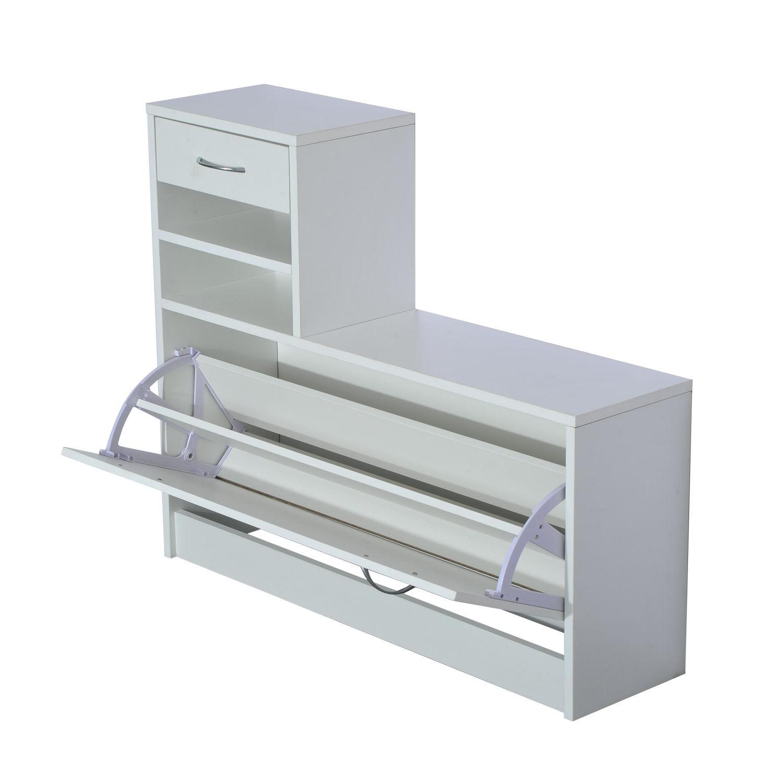 831 146wt 900  9 - Conjunto Muebles de Entrada Recibidor Pasillo 3 Piezas Perchero Espejo Zapatero