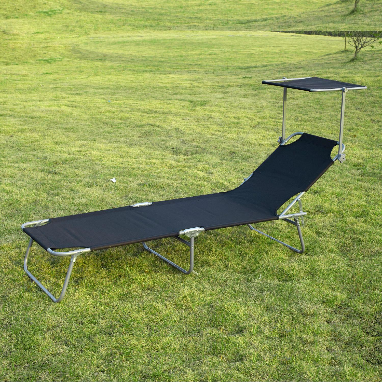 Tumbona-Inclinable-Aluminio-Plegable-Hamaca-Playa-Piscina-con-Parasol-NUEVO miniatura 32