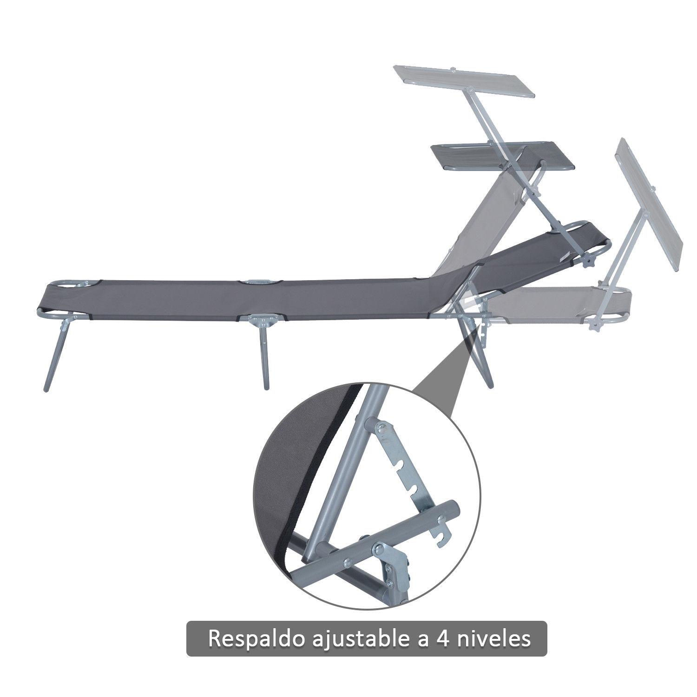 Tumbona-Inclinable-Hierro-Plegable-Hamaca-Playa-Piscina-con-Parasol-NUEVO