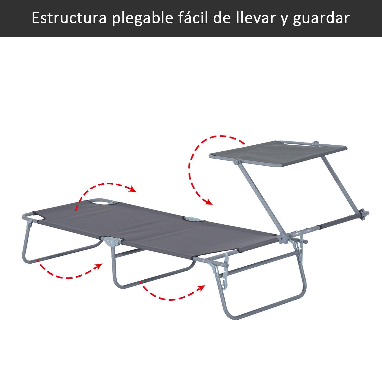 Tumbona-Inclinable-Aluminio-Plegable-Hamaca-Playa-Piscina-con-Parasol-NUEVO miniatura 5
