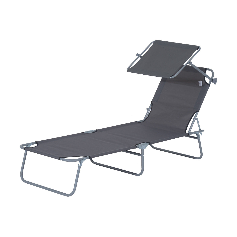 Tumbona-Inclinable-Aluminio-Plegable-Hamaca-Playa-Piscina-con-Parasol-NUEVO miniatura 3