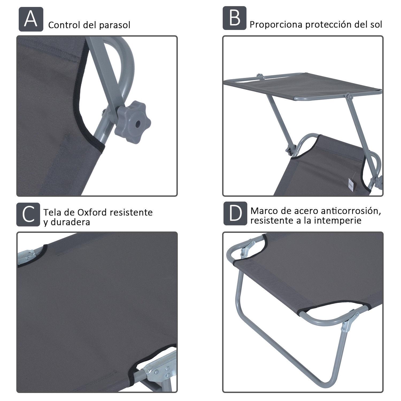 Tumbona-Inclinable-Aluminio-Plegable-Hamaca-Playa-Piscina-con-Parasol-NUEVO miniatura 6