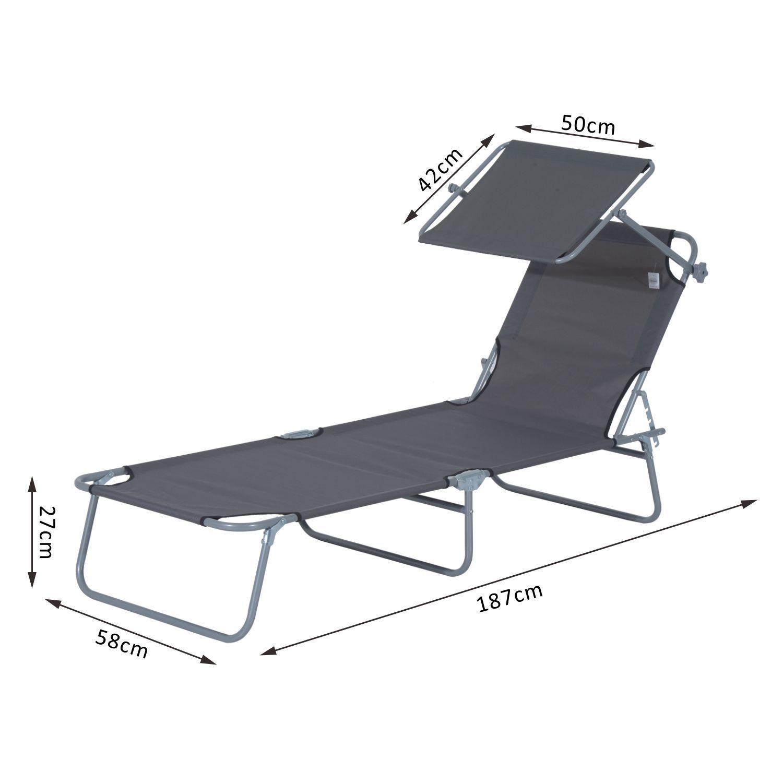 Tumbona-Inclinable-Aluminio-Plegable-Hamaca-Playa-Piscina-con-Parasol-NUEVO miniatura 8