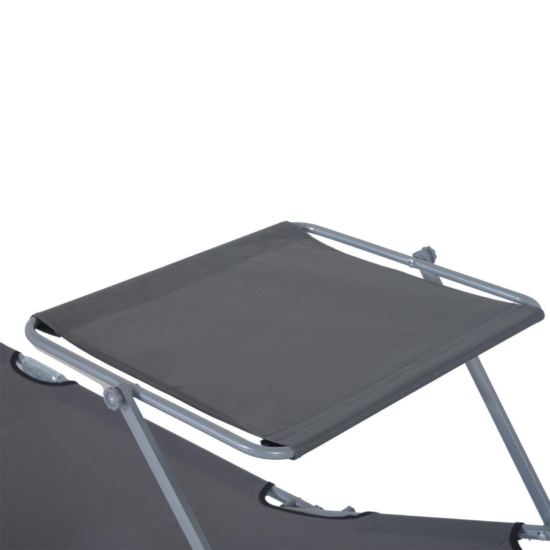 Tumbona-Inclinable-Aluminio-Plegable-Hamaca-Playa-Piscina-con-Parasol-NUEVO miniatura 11