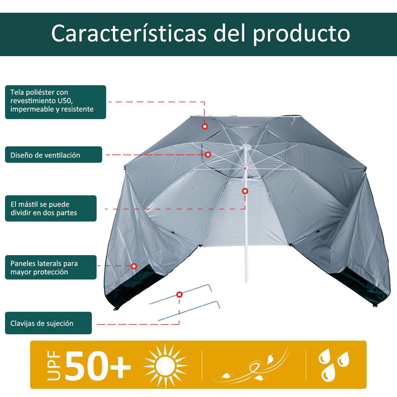 Sombrilla-de-Playa-Portatil-con-Paravientos-Tienda-Camping-Parasol-Proteccion-UV miniatura 16