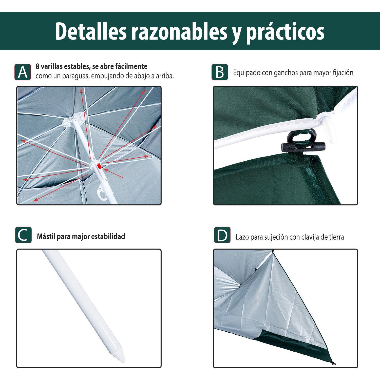 Sombrilla-de-Playa-Portatil-con-Paravientos-Tienda-Camping-Parasol-Proteccion-UV miniatura 18