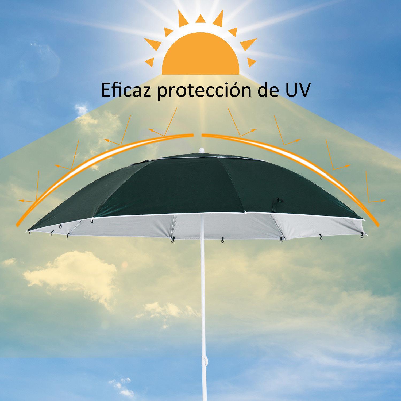 Sombrilla-de-Playa-Portatil-con-Paravientos-Tienda-Camping-Parasol-Proteccion-UV miniatura 19