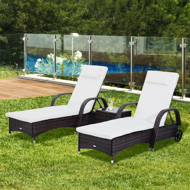 set 2 tumbonas y mesa con respaldo ajustable - Tumbonas Jardin