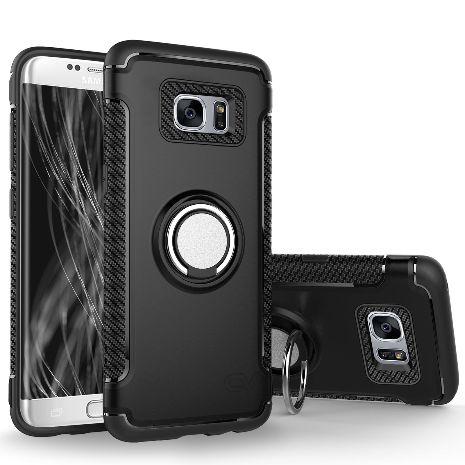 los angeles d7659 218f5 Details about For Galaxy S7 Case Finger Ring Holder Hybrid 360 KickStand  Protective Case Cover