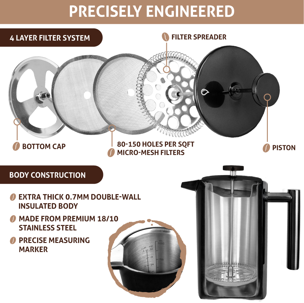 32oz-Insulated-Double-Wall-French-Press-Stainless-Steel-Pour-Over-Coffee-Maker thumbnail 8