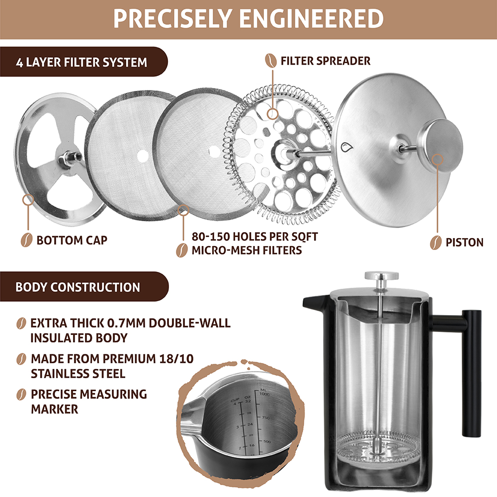 32oz-Insulated-Double-Wall-French-Press-Stainless-Steel-Pour-Over-Coffee-Maker thumbnail 26