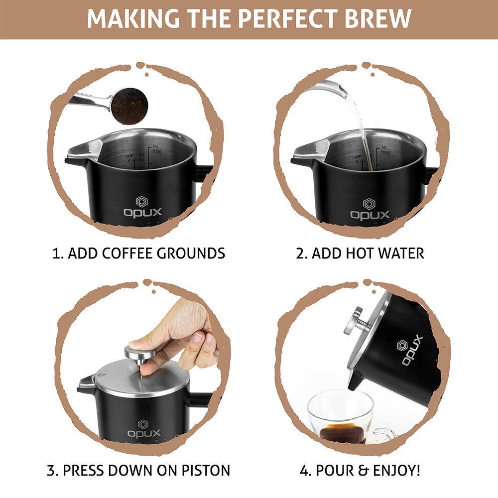 32oz-Insulated-Double-Wall-French-Press-Stainless-Steel-Pour-Over-Coffee-Maker thumbnail 27