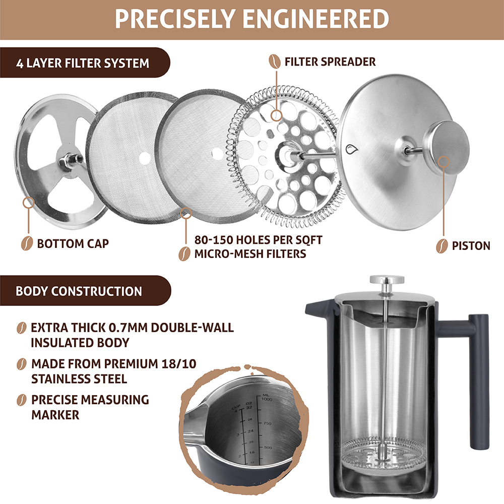 32oz-Insulated-Double-Wall-French-Press-Stainless-Steel-Pour-Over-Coffee-Maker thumbnail 32