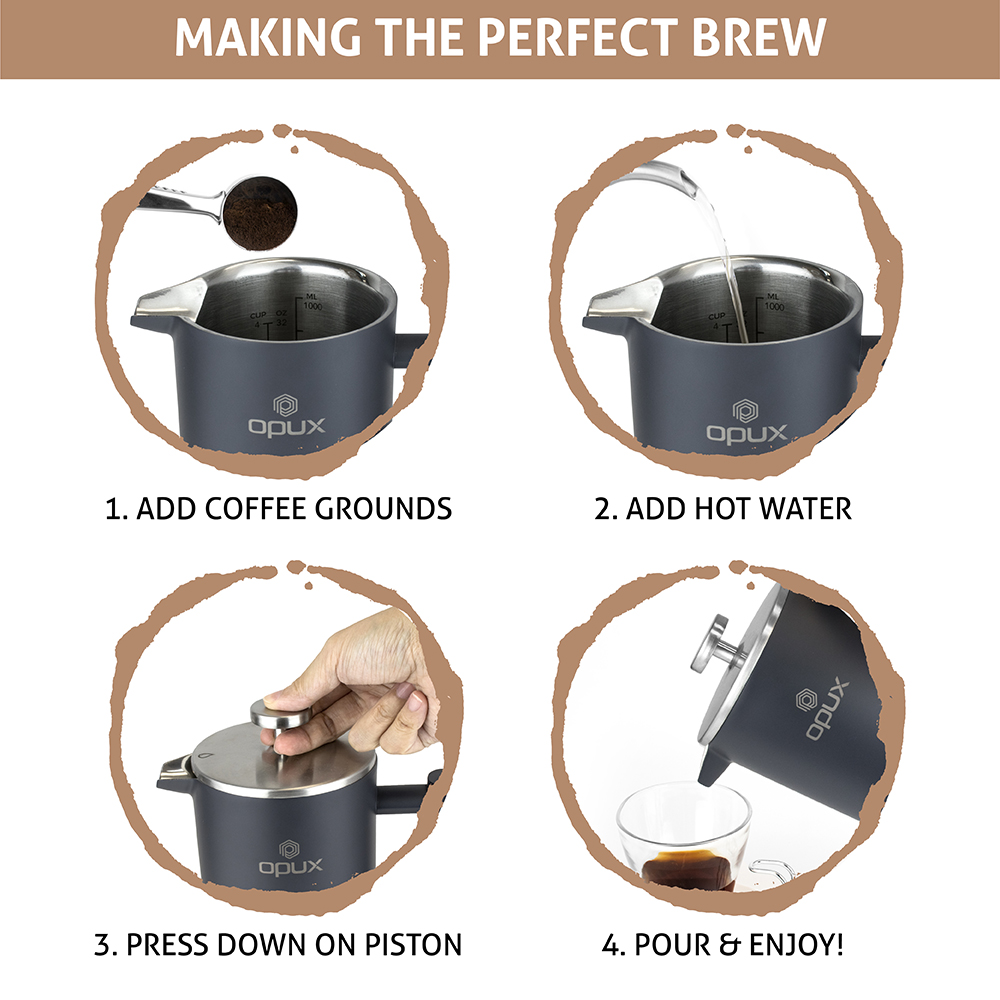 32oz-Insulated-Double-Wall-French-Press-Stainless-Steel-Pour-Over-Coffee-Maker thumbnail 33