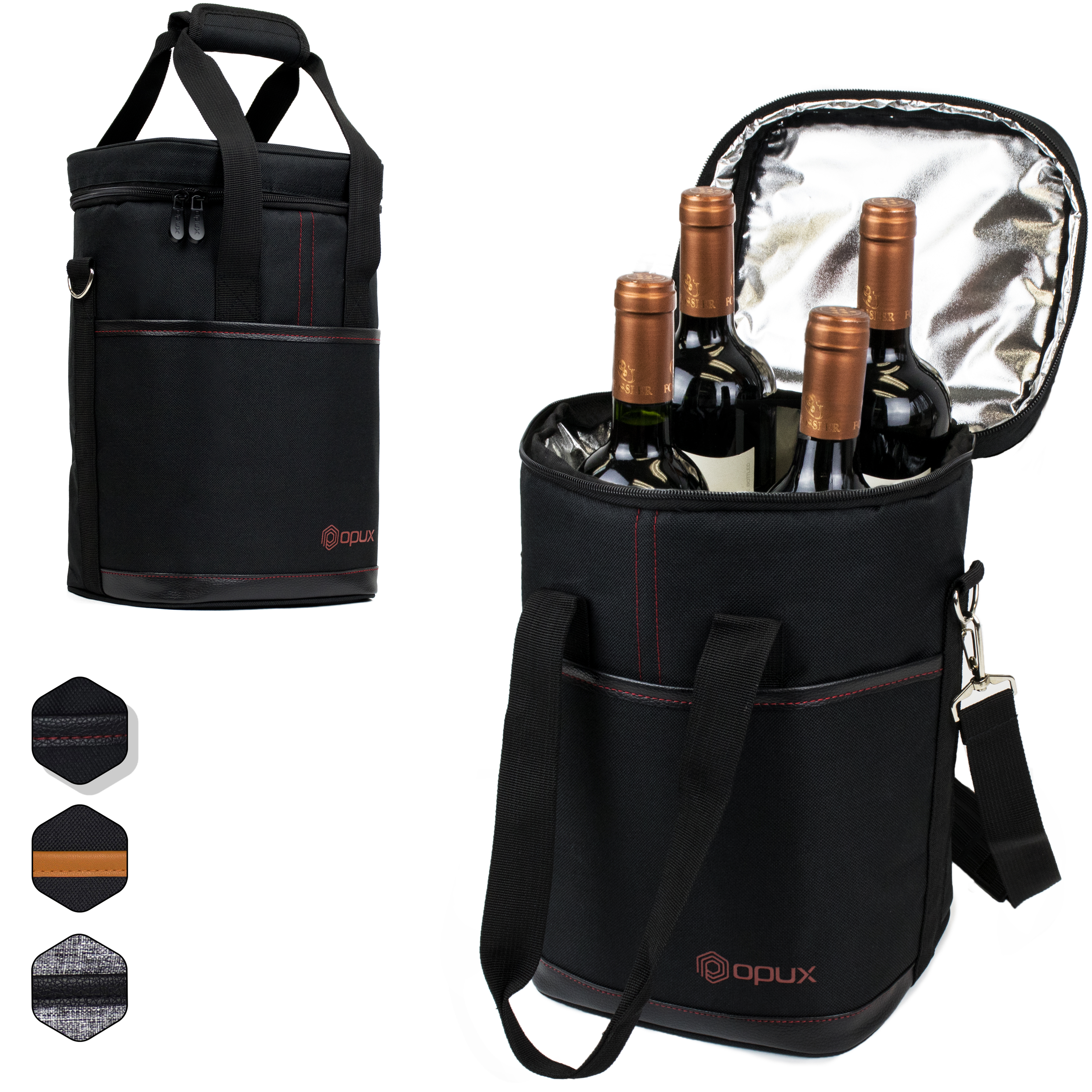 0038108e5a99 Wine Carrier Bag Insulated 4 or 6 Bottle Cooler Protection Carrying ...
