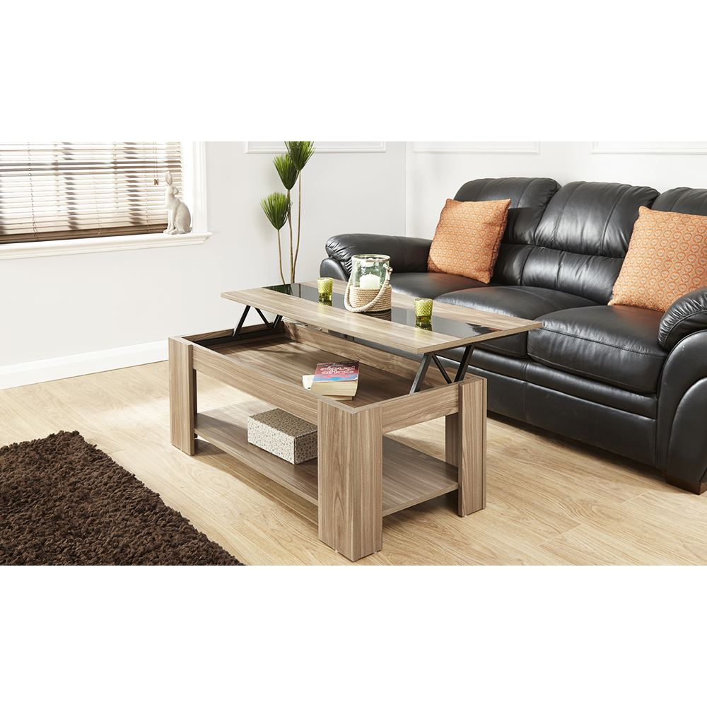 Lift up coffee table gloss strip tea espresso lounge table for Wohnzimmertisch lift